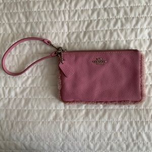 Coach pink pebbled leather wristlet Wallet